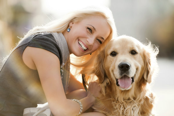Dog with woman